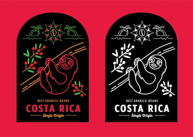 Design de rótulo de grãos de café costa rica com preguiça