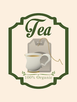 Design de rótulo de hora do chá