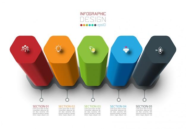 Design de rótulo de infográfico de vetor com colunas hexagonais