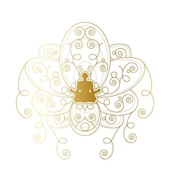 Design de rótulo de ioga e meditação, silhueta feminina em modelo de pose de lótus dourado. emblema de salão de beleza ou centro de spa de relaxamento ou ilustração vetorial de elemento de marca