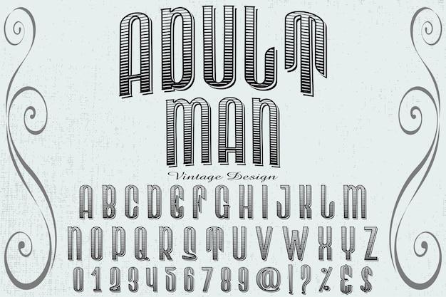 Design de rótulo de letra homem adulto