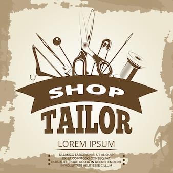 Design de rótulo de loja vintage alfaiate