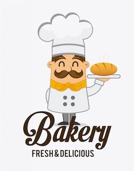 Design de rótulo de padaria, gráfico de vetor ilustração eps10