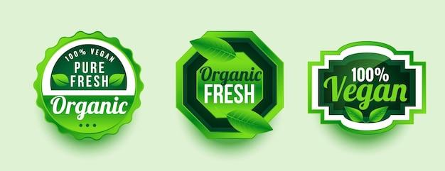 Design de rótulo de produto fresco e orgânico puro