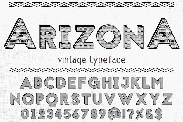 Design de rótulo de tipografia retro arizona