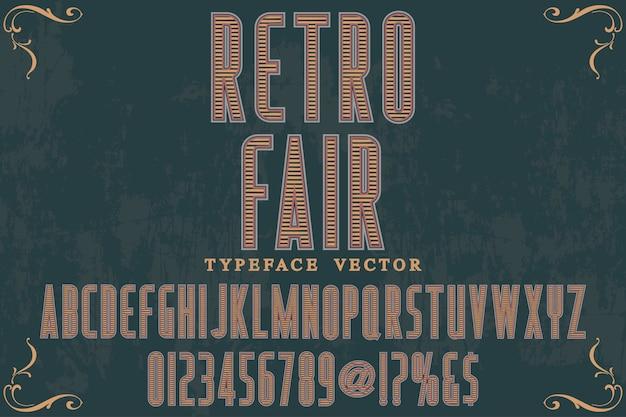 Design de rótulo do alfabeto retro justo