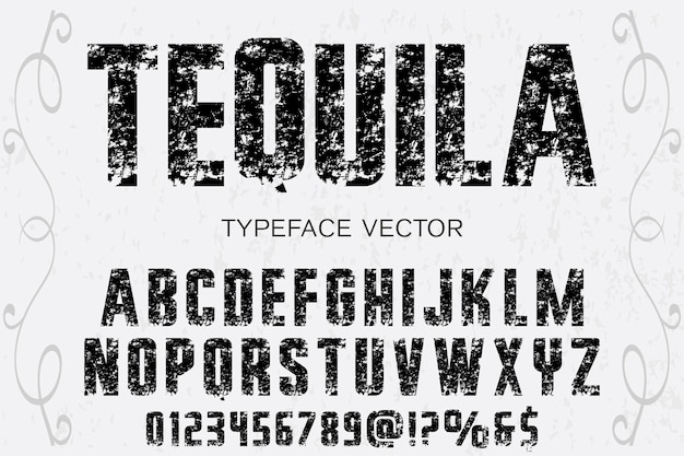 Design de rótulo do alfabeto tequla