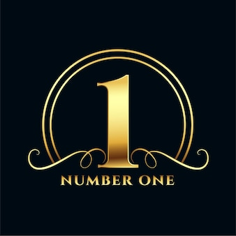 Design de rótulo dourado número um