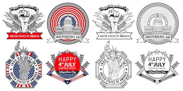 Design de rótulo e logotipo diante de ilustração de saudação de dia da independência de estados unidos de julho