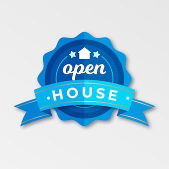 Design de rótulo imobiliário casa aberta