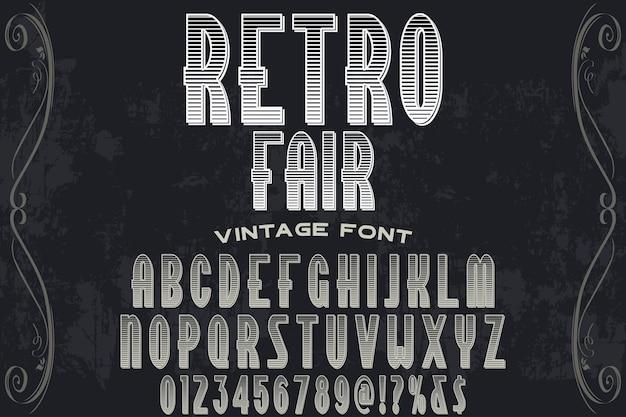 Design de rótulo retrô justo alfabeto