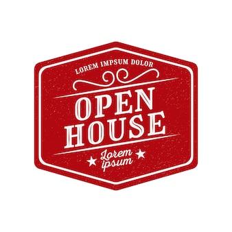 Design de rótulo vermelho de casa aberta