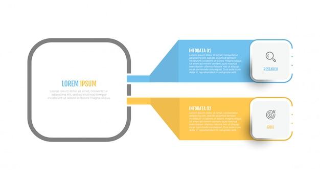 Design de rótulo vetorial diagrama infográfico com ícones e 2 opções ou etapas.