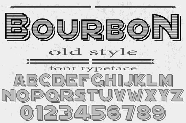 Design de rótulo vintage fonte bourbon