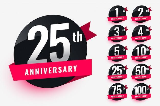 Design de rótulos de aniversário de fita