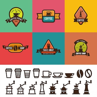 Design de rótulos vintage de café. modelos de logotipos de emblemas com pacote de ícones