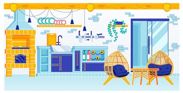Design de sala de cozinha com forno no chalé de verão