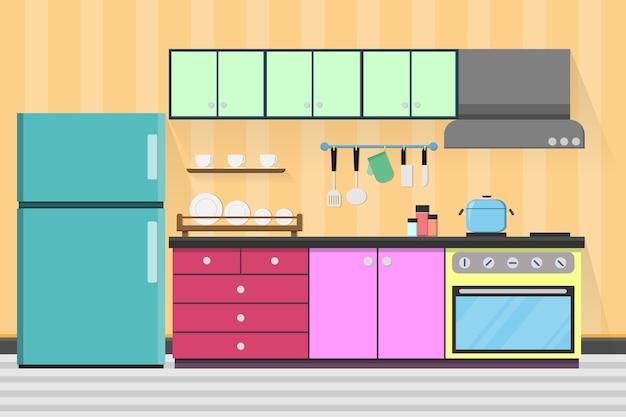 Design de sala de cozinha interior com utensílios de cozinha