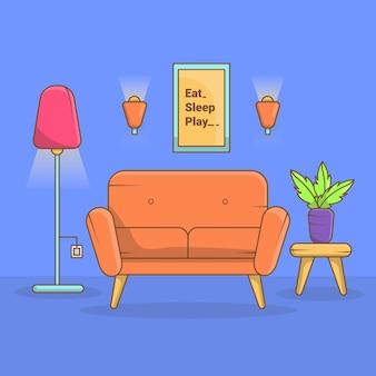 Design de sala de estar moderno com design plano de móveis de equipamentos