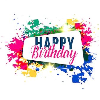Design de saudação de feliz aniversário respingo colorido abstrato