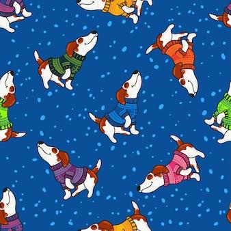 Design de saudação de inverno com cães em blusas coloridas