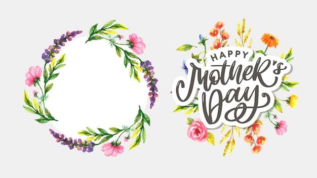 Design de saudação elegante com texto estiloso dia das mães em flores coloridas