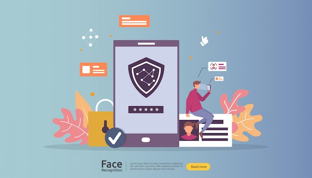 Design de segurança de dados de reconhecimento de rosto. sistema de identificação biométrica facial digitalização no smartphone.