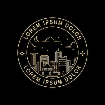 Design de selo de estilo de arte linha cidade