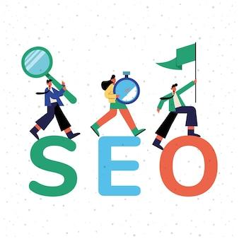 Design de seo e pessoas com ícones, marketing digital, comércio eletrônico e ilustração de temas online