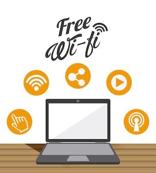 Design de serviço de wi-fi, gráfico de vetor ilustração eps10