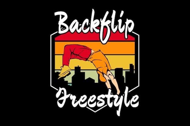 Design de silhueta de estilo livre para back flip