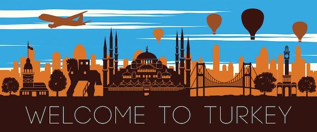 Design de silhueta de tempo famoso pôr do sol marco da turquia
