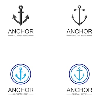 Design de símbolo vetorial modelo de logotipo âncora