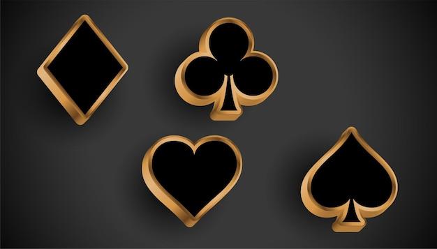 Design de símbolos de naipe de cartas de cassino 3d realista
