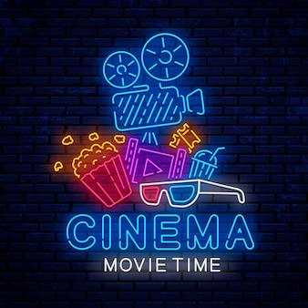 Design de sinal de néon brilhante cinema.