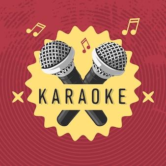 Design de sinal de rótulo de karaokê com ilustrações de microfone