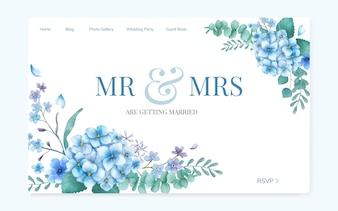 Design de site de convite de casamento floral