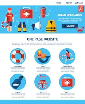 Design de site de uma página de guarda de vida