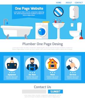 Design de site de uma página de serviço de encanador