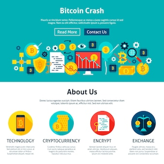 Design de sites bitcoin crash. ilustração em vetor estilo simples para web banner e página inicial.