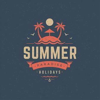 Design de slogan de tipografia de rótulo ou emblema de férias de verão