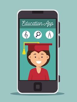 Design de smartphone educação on-line garota graduação