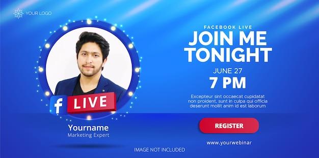 Design de streaming ao vivo do facebook para promoção de negócios.