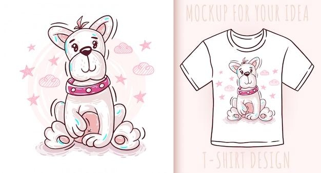 Design de t-shirt bonito dos desenhos animados cachorro cachorro