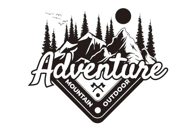 Design de t-shirt com aventura montanha pinho ao ar livre estilo vintage