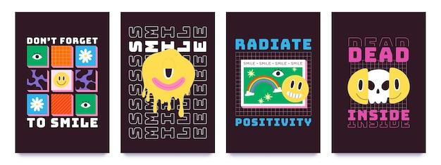 Design de t-shirt com carinhas psicodélicas e grafite. emoji derretendo com crânio, arco-íris e slogan. conjunto de vetores de estampas da moda dos anos 70