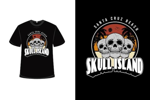 .design de t-shirt com caveira santa cruz beach skull island em amarelo alaranjado creme e cinza