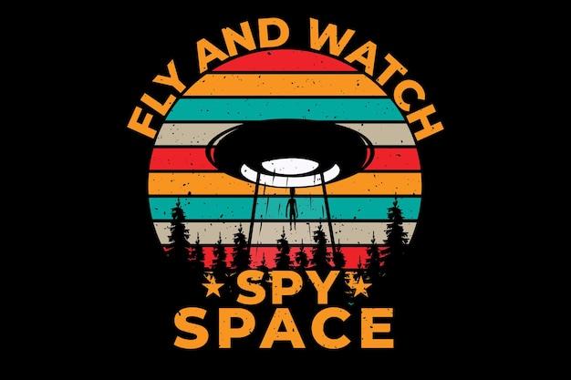 Design de t-shirt com estilo vintage de pinheiro no espaço retro