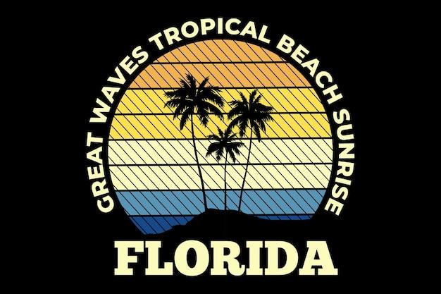 Design de t-shirt com grande onda na florida, praia, nascer do sol tropical, em estilo retro