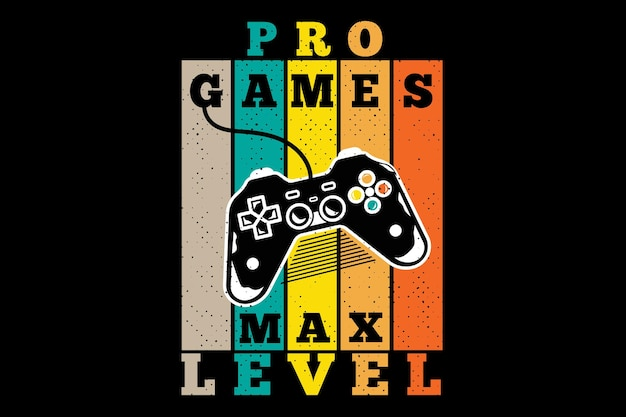 Design de t-shirt com jogos de console de silhueta nível máximo em estilo retro